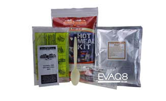 Hot Meal Kit 400g | genuine military style MRE meal-ready-to-eat | MRE info from EVAQ8 the UK's Emergency Preparedness specialist